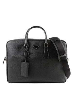 PRADA: borse da ufficio - Borsa da lavoro in pelle saffiano nera