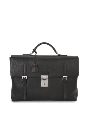 Prada: laptop bags & briefcases - BUCKLES DETAIL LEATHER BRIEFCASE
