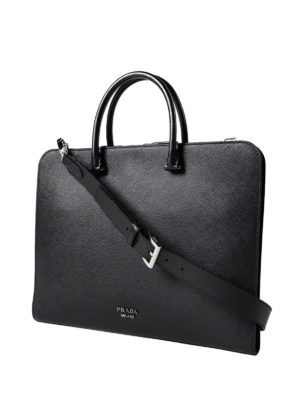 Prada: laptop bags & briefcases online - Black saffiano leather briefcase