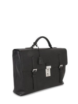 Prada: laptop bags & briefcases online - BUCKLES DETAIL LEATHER BRIEFCASE