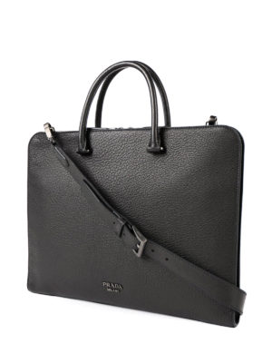Prada: laptop bags & briefcases online - Grained leather briefcase