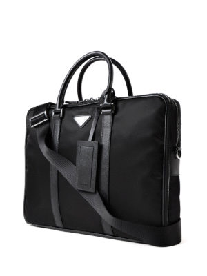 Prada: laptop bags & briefcases online - Saffiano detailed nylon briefcase