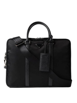 Prada: laptop bags & briefcases - Saffiano detailed nylon briefcase
