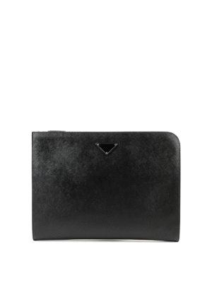 PRADA: borse da ufficio - Portadocumenti in pelle saffiano con zip