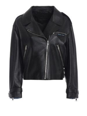PRADA: giacche in pelle - Giubbotto in agnello con zip asimmetrica