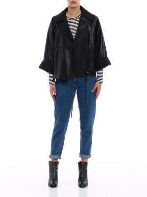 Prada: leather jacket online - Napa leather biker jacket