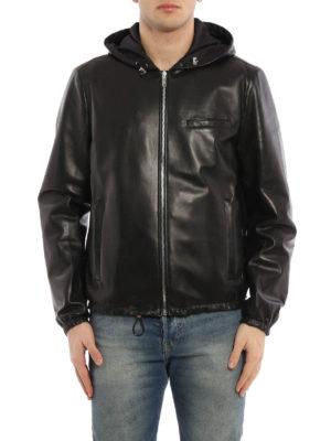 Prada: leather jacket online - Reversible hooded leather jacket