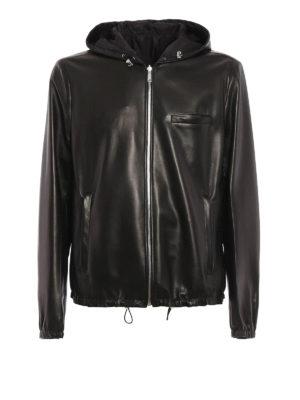 Prada: leather jacket - Reversible hooded leather jacket