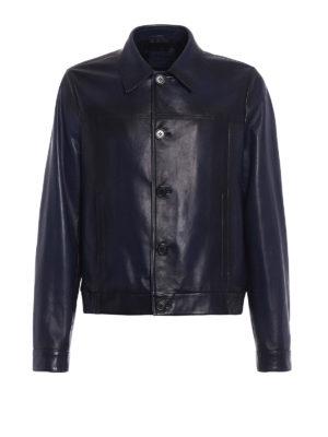 Prada: leather jacket - Waxed napa leather jacket