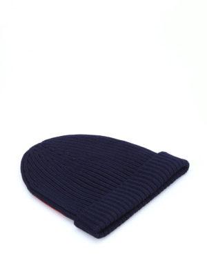 Prada Linea Rossa: beanies online - Ribbed wool beanie