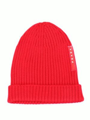 Prada Linea Rossa: beanies - Ribbed wool beanie