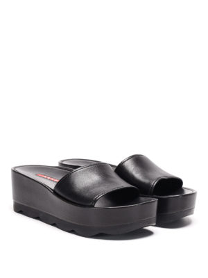 Prada Linea Rossa: mules shoes online - Waved sole leather mules