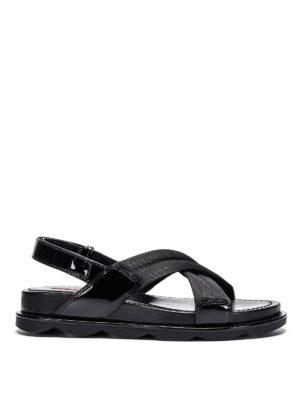 Prada Linea Rossa: sandals - Crisscrossed bands sandals