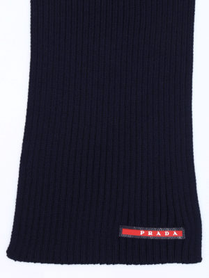 Prada Linea Rossa: scarves online - Rib knitted wool scarf