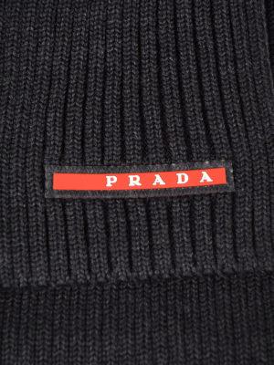 Prada Linea Rossa: scarves online - Ribbed wool dark grey scarf