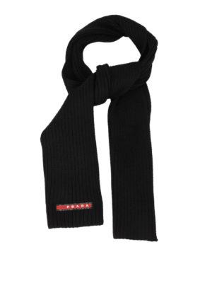 Prada Linea Rossa: scarves - RIB KNITTED WOOL SCARF