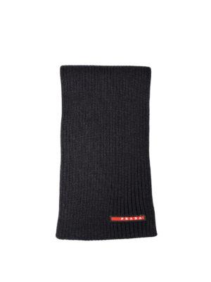 Prada Linea Rossa: scarves - Ribbed wool dark grey scarf