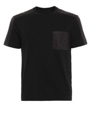 Prada Linea Rossa: t-shirts - Nylon detailed basic Tee