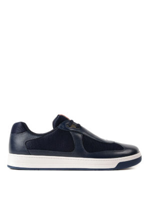 Prada Linea Rossa: trainers - Blue leather and fabric sneakers