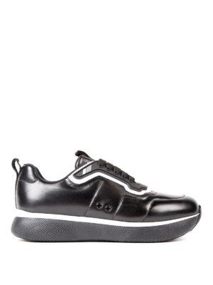 Prada Linea Rossa: trainers - Contrasting piping napa sneakers