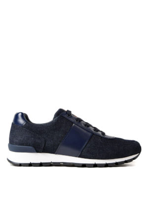 Prada Linea Rossa: trainers - Denim and leather lace-up sneakers