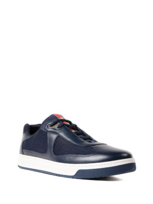Prada Linea Rossa: trainers online - Blue leather and fabric sneakers