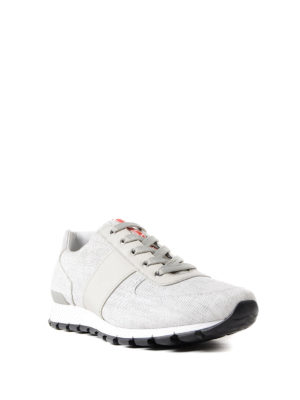 Prada Linea Rossa: trainers online - Canvas and leather sneakers