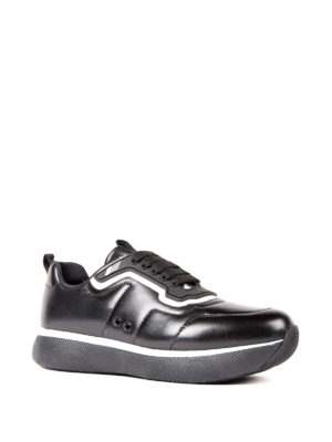 Prada Linea Rossa: trainers online - Contrasting piping napa sneakers