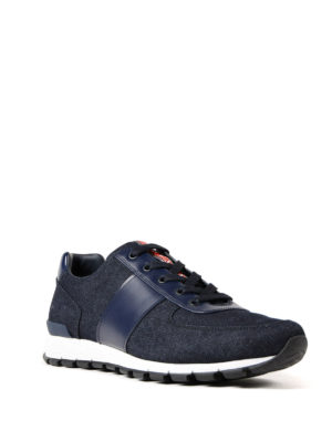 Prada Linea Rossa: trainers online - Denim and leather lace-up sneakers