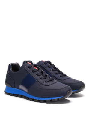 Prada Linea Rossa: trainers online - Fabric and leather sneakers