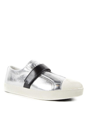 Prada Linea Rossa: trainers online - Two-tone calf leather sneakers