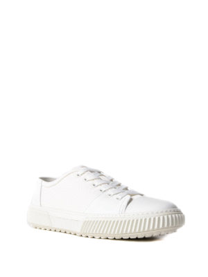 Prada Linea Rossa: trainers online - White leather and fabric sneakers