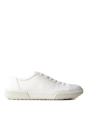 Prada Linea Rossa: trainers - White leather and fabric sneakers