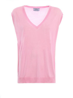 Prada Linea Rossa: v necks - Combed wool sleeveless sweater