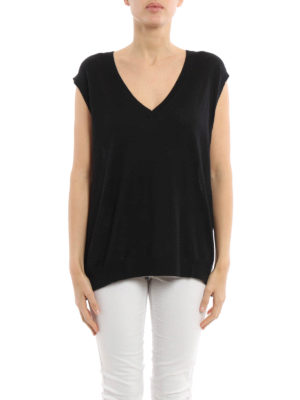 Prada Linea Rossa: v necks online - Combed wool sleeveless sweater