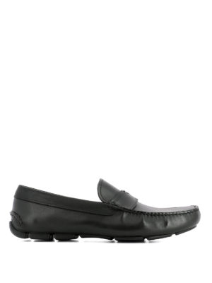 Prada: Loafers & Slippers - Black leather driver loafers