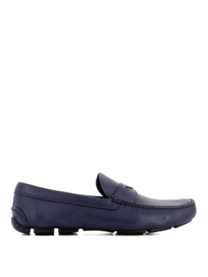 Prada: Loafers & Slippers - Blue leather driver loafers