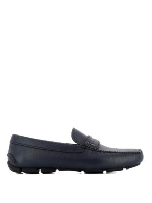 Prada: Loafers & Slippers - Blue saffiano driver loafers
