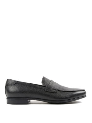 Prada: Loafers & Slippers - Brushed saffiano leather loafers