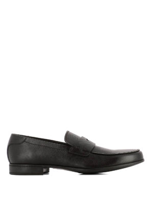 Prada: Loafers & Slippers - Dark Brown saffiano leather loafers