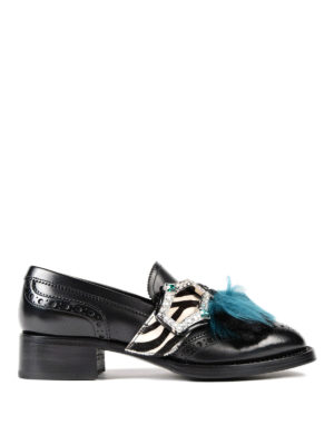 Prada: Loafers & Slippers - Embellished leather loafers
