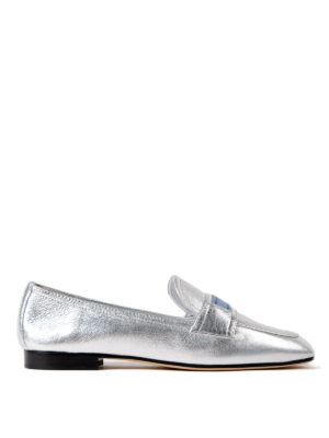 Prada: Loafers & Slippers - Etiquette metallic leather loafers