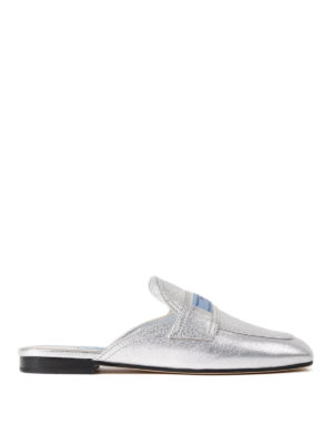 Prada: Loafers & Slippers - Etiquette metallic leather slippers