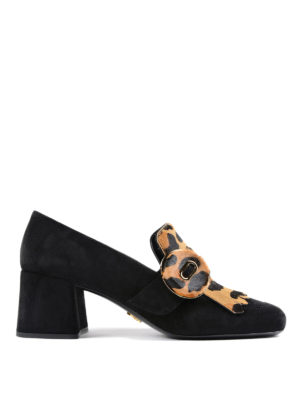 Prada: Loafers & Slippers - Leo print fringed suede loafers