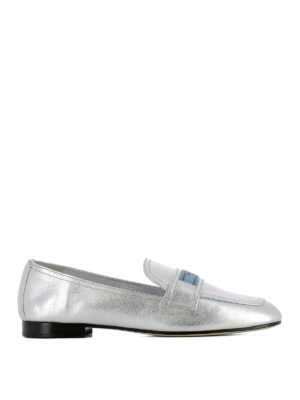 Prada: Loafers & Slippers - Logo label silver leather loafers