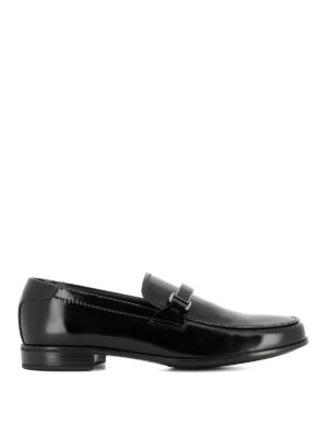 Prada: Loafers & Slippers - Logo pennybar leather loafers