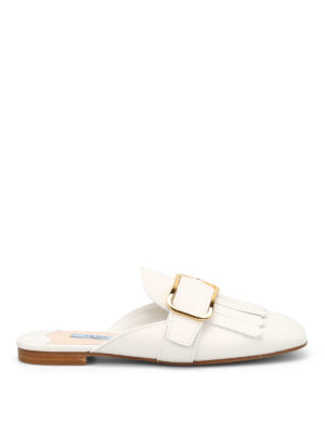 Prada: Loafers & Slippers - Metal buckle leather loafers
