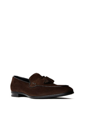 Prada: Loafers & Slippers online - Brown suede loafers with tassels