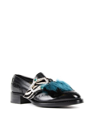 Prada: Loafers & Slippers online - Embellished leather loafers