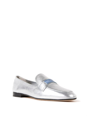 Prada: Loafers & Slippers online - Etiquette metallic leather loafers